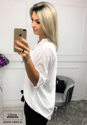 Bluzka Zoya biała bluzka, luźna, biała, z guzikami, regulowany rękaw