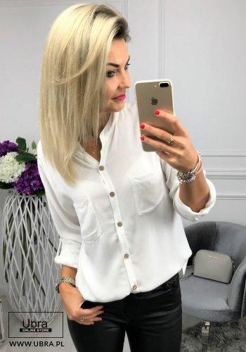 Bluzka Pati Biała bluzka, prosta, guziki, biała