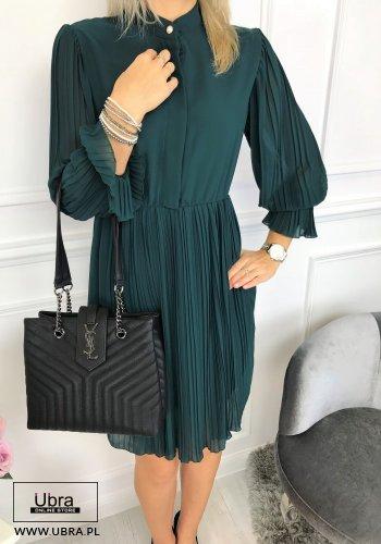zielona, sukienka, tania, plisowana, rozkloszowana, taliowana, elegancka, długi rękaw, ozdobna, guzik, zdobienia