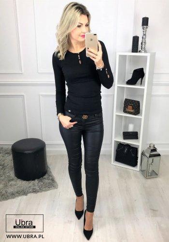 Bluzka Roma czarna bluzka, dopasowana, guziki, czarna