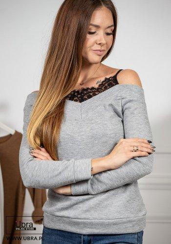 Bluzka Aspen szara bluzka, z koronką, na ramiączkach, szara