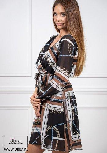 sukienka, tania, taliowana, gumka w talii, dekolt V, długi rękaw, wiązana, wzór, zakładka, czarna