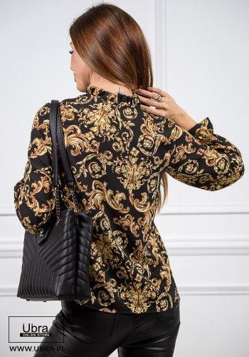Bluzka Luxury czarna bluzka, wiązana, ornament, elegancka,czarna