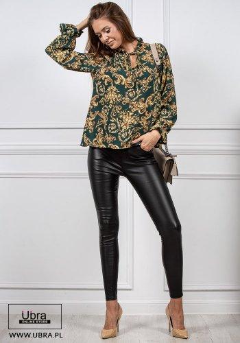 Bluzka Luxury zielona bluzka, wiązana, ornament, elegancka, zielona