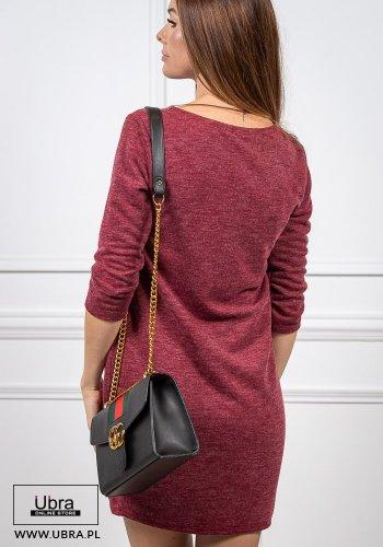 sukienka, czerwona, sportowa, tania, rękaw 3/4, dekolt okrągły, na co dzień, z kieszeniami