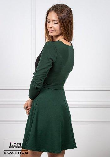 sukienka, tania, zielona, taliowana, wiązana, kokarda, rękaw 3/4, dekolt okrągły, haftowana, koronka, nietypowa, kobieca