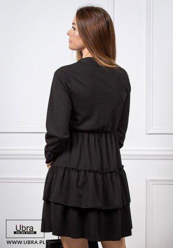 sukienka, czarna, tania, długi rękaw, rozkloszowana, taliowana, gumka w talii, dekolt V, dekolt wiązany, falbanki
