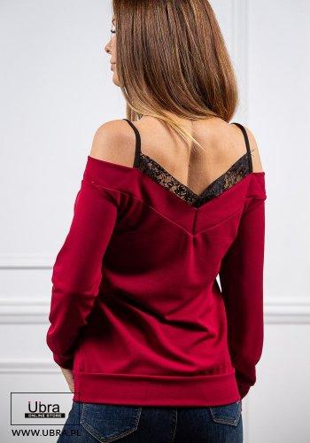 Bluzka Celia bordowa bluzka, koronką, odkrytymi ramionami, bordowa