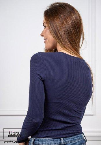 Bluzka Diana Granatowa bluzka, z guzikami, dopasowana, granatowa