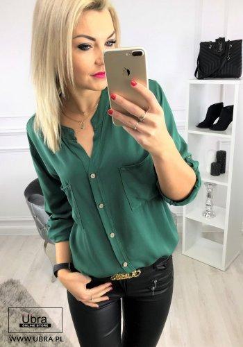 Bluzka Pati zielona bluzka, prosta, guziki, zielona