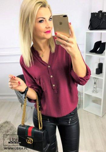 Bluzka Zoya Bordowa bluzka, luźna, bordowa, z guzikami, regulowany rękaw