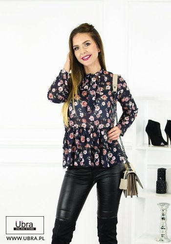 Bluzka Florence bluzka, w kwiaty, ze wstążką, z falbaną, granatowa, koszulowa