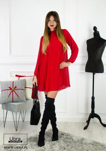 sukienka, bordowa, prosta, tania, plisowana, rozkloszowana, długi rękaw, półgolf, podszewka, minimalizm