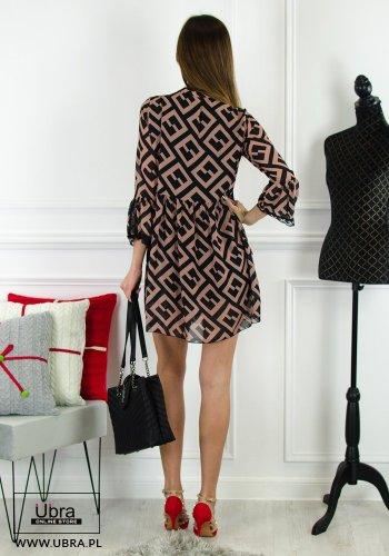 Sukienka, glamour, dekolt wiązany, rękaw 3/4, rozkloszowana, koronkowe wykończenie, tania, taliowana, gumka w pasie, jesień/zima, podszewka, wzory, elegancka, kobieca