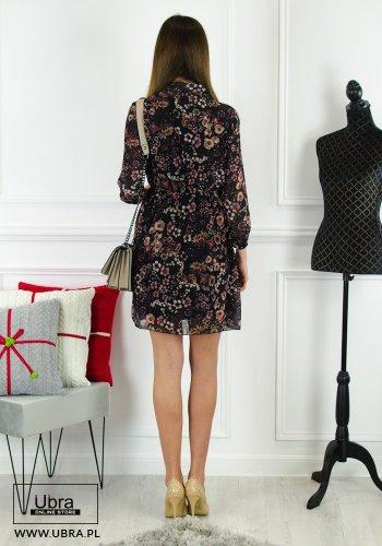 Sukienka, czarna, glamour, dekolt wiązany, długi rękaw, prosta, tania, taliowana, gumka w pasie, jesień/zima, podszewka, kwiecisty wzór, elegancka, kobieca