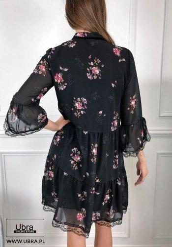 sukienka, czarna, rękaw 3/4, dekolt wiązany, kwieciste wzory, taliowana, prosta, tania, koronkowe wykończenie, podszewka, elegancka, kobieca