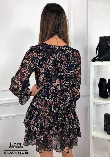 sukienka, czarna, kwiecisty wzór, falbanki, wiązany dekolt, ozdobny dekolt, taliowana, kobieca