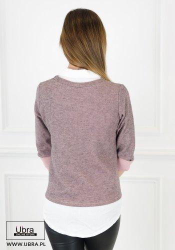 bluzka, bawełniana, modna, tania, kobieca, hit, koszula, kołnierzyk, rękaw 3/4, różowa, jasny róż