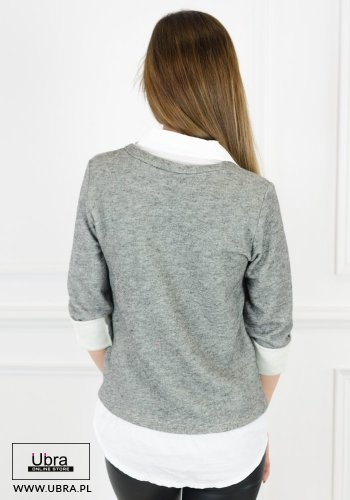 bluzka, bawełniana, modna, tania, kobieca, hit, koszula, kołnierzyk, rękaw 3/4, szara