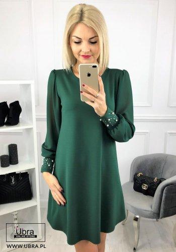 sukienka,zielona,luźna,rozkloszowana,bufiaste rękawy,