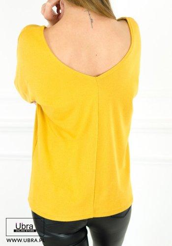 bluzka, długi rękaw, dekolt w kształcie litery V, guziczki, zdobiona, na co dzień, jednolita, tania, modna, musztardowa