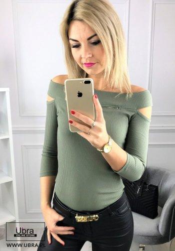 bluzka, bawełniana, dopasowana, z zamkiem, dekolt w kształcie łódki, rękaw 3/4, odkryte ramiona, seksowna, oryginalna, modna, tania, khaki, zielona