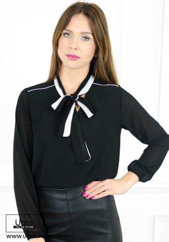 bluzka, długi rękaw, wiązana, koszula, tania, modna, czarna
