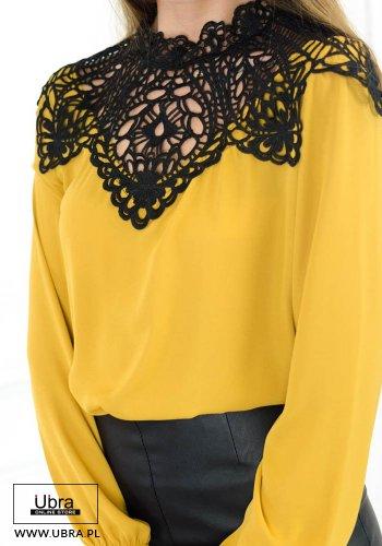 bluzka, koszula, koronka, zdobienia, modna, tania, hit, długi rękaw, musztardowa