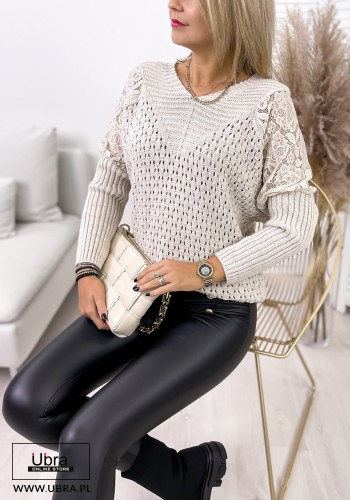 SWETER BEIGE BEŻOWY